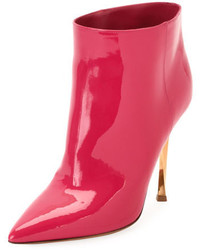 Hot Pink Leather Ankle Boots
