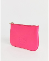 Hill & Friends Hill And Friends Happy Mini Leather Pouch In Pink