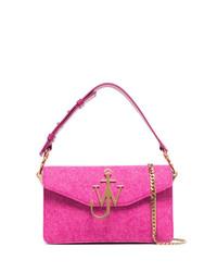 JW Anderson Pink Hibiscus Logo Felt Shoulder Bag
