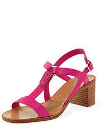 Hot Pink Leather Heeled Sandals