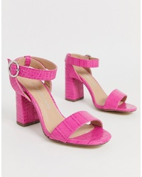New Look Heeled Sandal In Bright Pink Croc