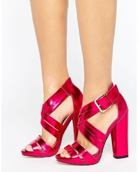 Little Mistress Open Toe Block Heeled Cross Over Sandal