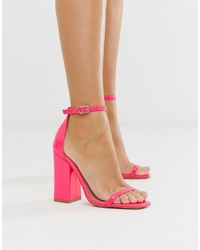 SIMMI Shoes Simmi London Joice Fuschia Patent Square Toe Heeled Sandals