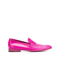 Hot Pink Leather Loafers