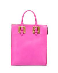 Soft buckled zip tote bag hot pink medium 43975