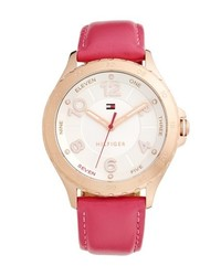 Tommy Hilfiger Casual Sport Round Leather Strap Watch 40mm Pink Rose Gold