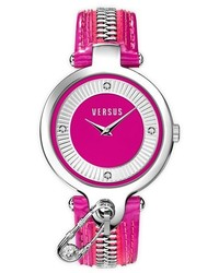 Versus By Versace Key Biscane Zip Detail Leather Strap Watch 38mm