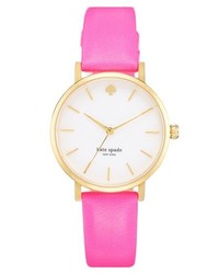 kate spade new york Metro Round Leather Strap Watch 34mm Bazooka Pink Gold