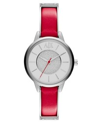 AX Armani Exchange Round Leather Strap Watch 30mm Pink Silver