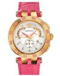 Versace V Race Precious Chronograph Leather Strap Watch 42mm