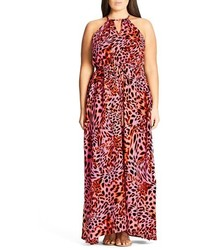 City Chic Plus Size Leopard Drawstring Waist Maxi Dress