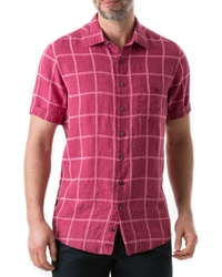 Hot Pink Linen Short Sleeve Shirt