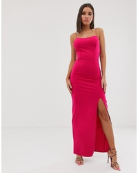 Club L London Square Neck Midaxi Dress In Fuschia