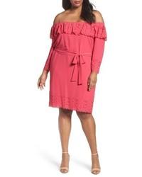 Hot Pink Off Shoulder Dress