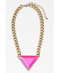 Leith Triangle Pendant Necklace Hot Pink Gem