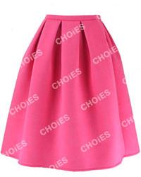 Hot Pink Pleated Midi Skirt