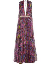 Matthew Williamson Sweetie Ragadang Embellished Printed Silk Chiffon Gown Fuchsia
