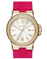 MICHAEL Michael Kors Michl Michl Kors Dylan Crystal Bezel Silicone Strap Watch 33mm Pink White