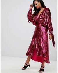 Hot Pink Sequin Midi Dress