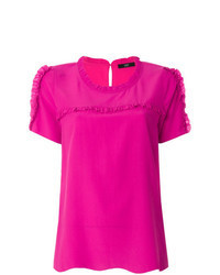 Hot Pink Short Sleeve Blouse