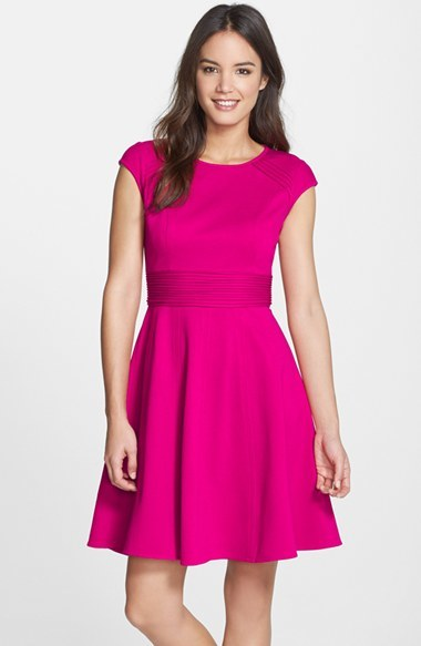 Eliza J Pintucked Waist Seamed Ponte Knit Fit Flare Dress Where To