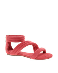 Hot Pink Suede Flat Sandals