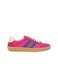 Hot Pink Suede Low Top Sneakers
