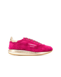 Hot Pink Suede Low Top Sneakers