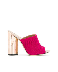 Hot Pink Suede Mules for Women  6518374b52e
