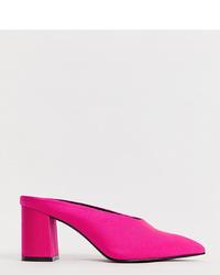 ASOS DESIGN Wide Fit Wesley Mid Heel Mules In Neon Pink