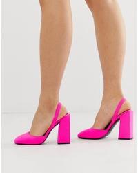ASOS DESIGN Pivot Slingback High Heels In Neon Pink