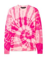 Hot Pink Tie-Dye Crew-neck Sweater