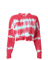 MSGM Tie Dye Raw Edge Cropped Sweater