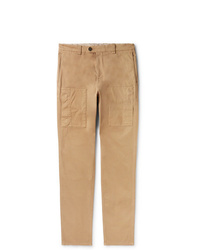Brunello Cucinelli Slim Fit Gart Dyed Stretch Cotton Cargo Trousers