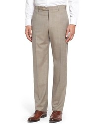 Zanella Flat Front Check Wool Trousers
