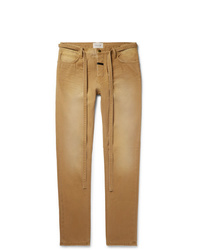 Fear Of God Slim Fit Belted Cotton Canvas Trousers