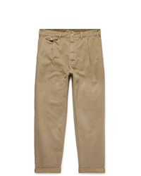 Alex Mill Tapered Pleated Cotton Blend Twill Trousers