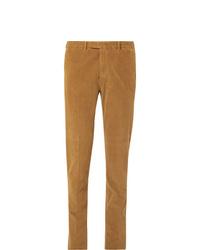 Boglioli Tan Slim Fit Stretch Cotton Corduroy Suit Trousers