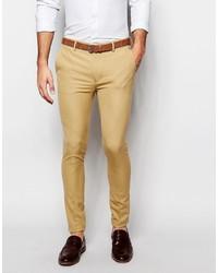 Asos Brand Wedding Super Skinny Suit Pants In Camel