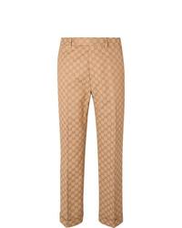 Gucci Slim Fit Logo Jacquard Cotton Blend Suit Trousers