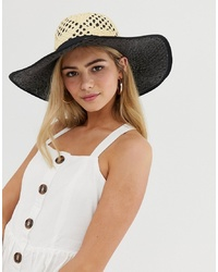 Miss Selfridge Sun Hat With Contrast Underlay In Nude