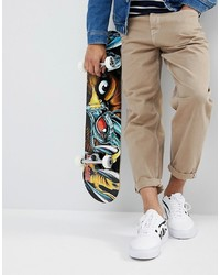 ASOS DESIGN Asos Skater Fit Jeans In Sand With Contrast Stitching