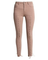Missguided Lace Through Jeans Skinny Fit Camel