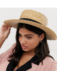 South Beach Straw Boater Hat With Black Ribbon