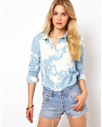 Tye dye denim shirt blue medium 35788