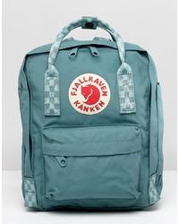 FjallRaven Mini Kanken Frost Green Backpack With Contrast Stripes