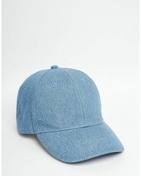 Asos Brand Baseball Cap In Mid Wash Denim