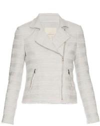 Rebecca Taylor Cotton Blend Tweed Biker Jacket