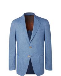 Loro Piana Light Blue Unstructured Linen Chambray Blazer