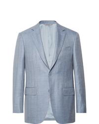 Canali Slim Fit Light Blue Wool Silk And Linen Blend Blazer